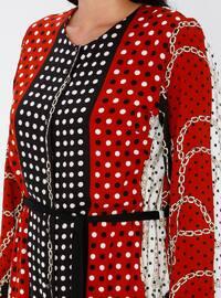 Tan - Multi - Unlined - Crew neck - Viscose - Plus Size Dress