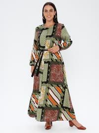 Green - Multi - Unlined - Crew neck - Viscose - Plus Size Dress