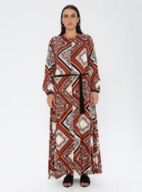 Tan - Multi - Unlined - Crew neck - Viscose - Plus Size Dress