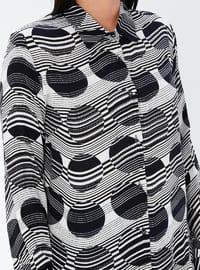 Navy Blue - Geometric - Point Collar - Viscose - Plus Size Tunic