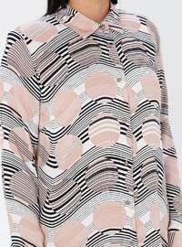 Powder - Geometric - Point Collar - Viscose - Plus Size Tunic