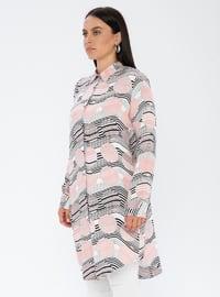Salmon - Geometric - Point Collar - Viscose - Plus Size Tunic