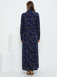 Navy Blue - Multi - Unlined - Point Collar - Viscose - Plus Size Dress