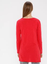 Red - Crew neck -  - Tunic
