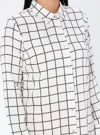 White - Checkered - Point Collar - Viscose - Plus Size Tunic