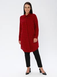 Maroon - Checkered - Point Collar - Viscose - Plus Size Tunic