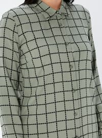 Khaki - Checkered - Point Collar - Viscose - Plus Size Tunic