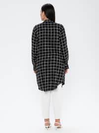 Black - Checkered - Point Collar - Viscose - Plus Size Tunic