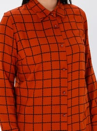 Tan - Checkered - Point Collar - Viscose - Plus Size Tunic