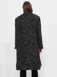 White - Black - Fully Lined - Acrylic - - Viscose - Plus Size Overcoat
