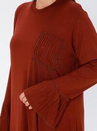 Tan - Crew neck - Viscose - Plus Size Tunic
