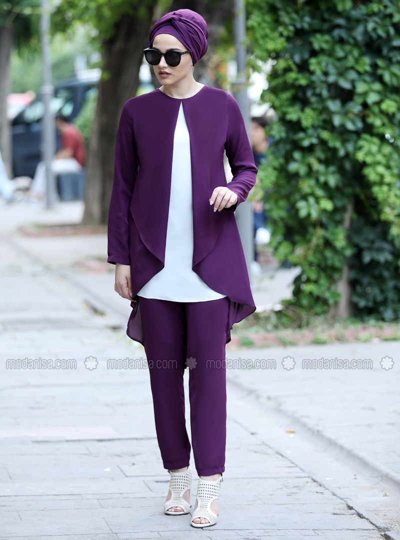 Plum - Unlined - Crepe - Suit