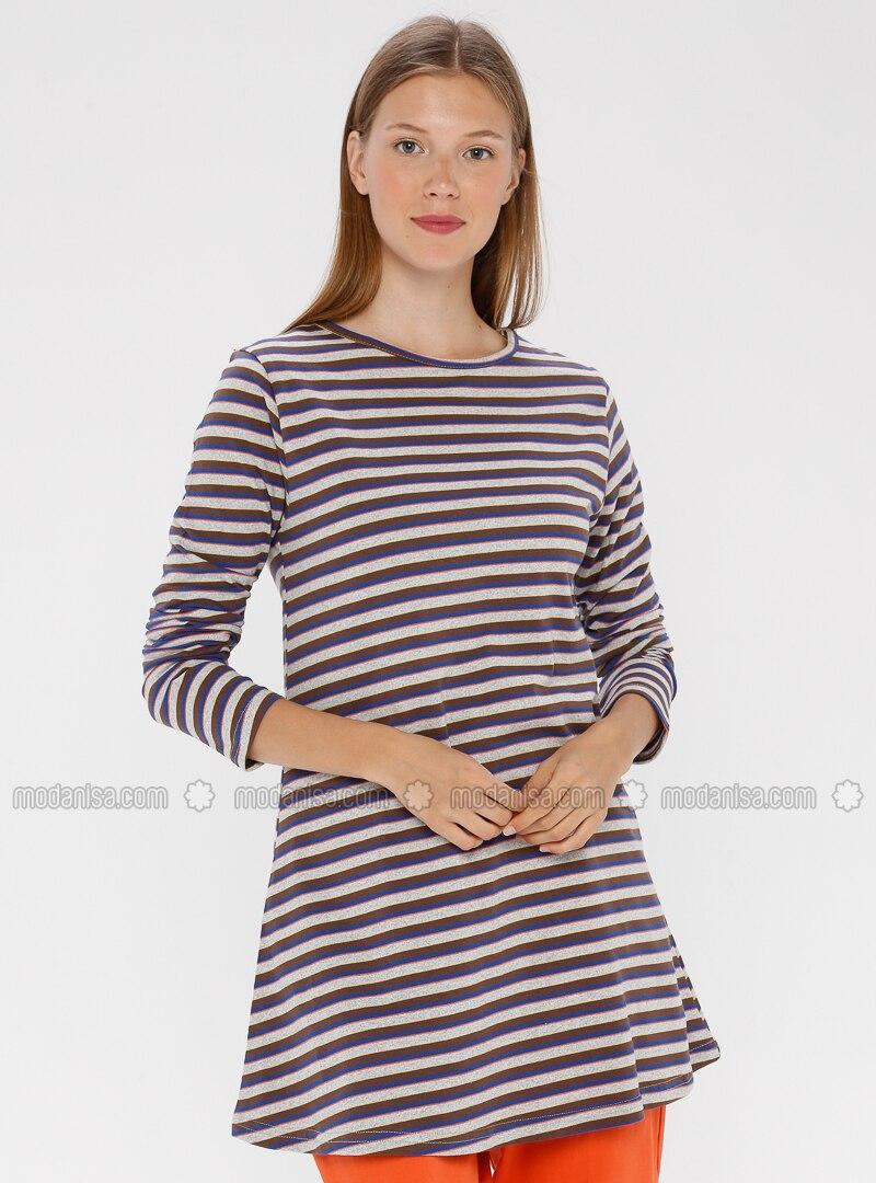 Brown - Stripe - Crew neck -  - Tunic