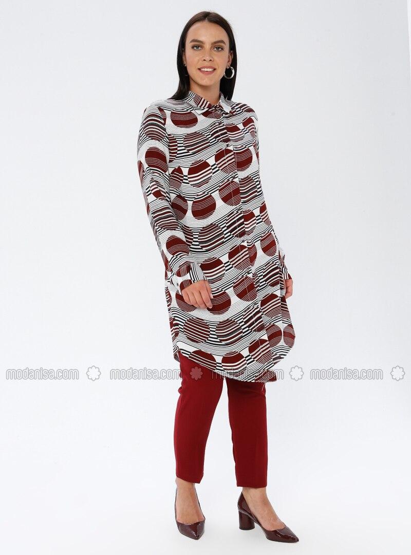 Maroon - Geometric - Point Collar - Viscose - Plus Size Tunic