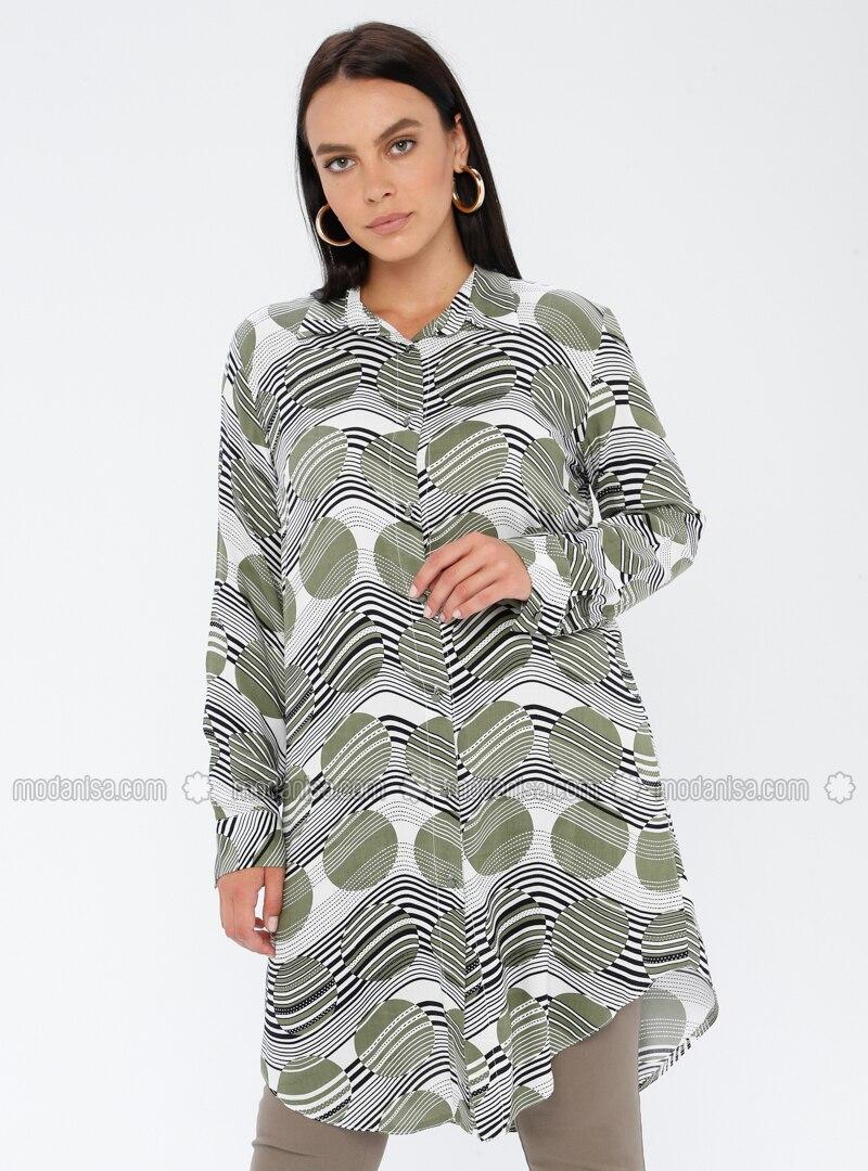 Khaki - Geometric - Point Collar - Viscose - Plus Size Tunic