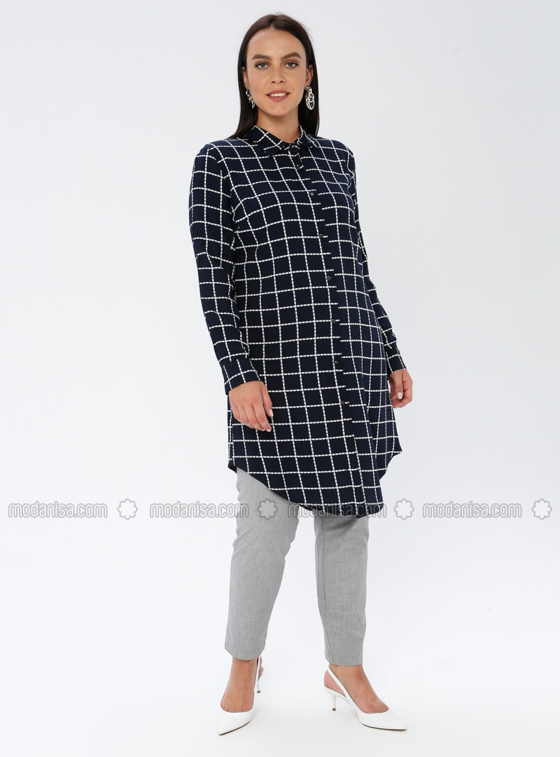Navy Blue - Checkered - Point Collar - Viscose - Plus Size Tunic