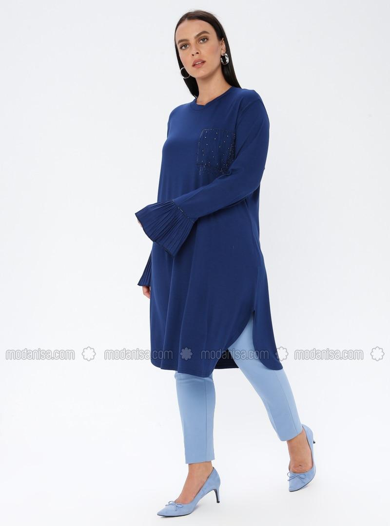 Indigo - Crew neck - Viscose - Plus Size Tunic