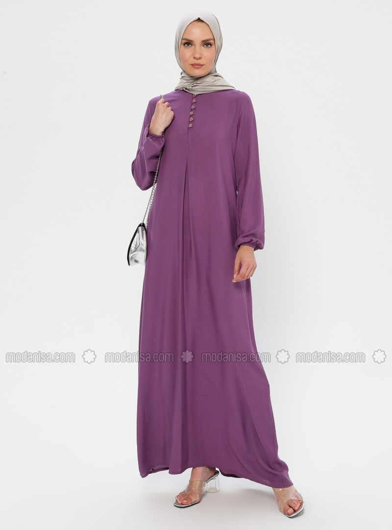 Lilac - Crew neck - Unlined - Viscose - Dress