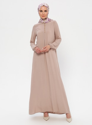 Cream - Crew neck - Unlined - Viscose - Dress