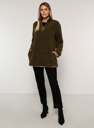 Khaki - Unlined - Polo neck - Plus Size Coat - Alia