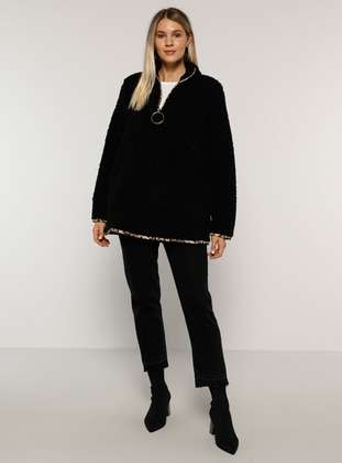 Black - Unlined - Polo neck - Plus Size Coat - Alia