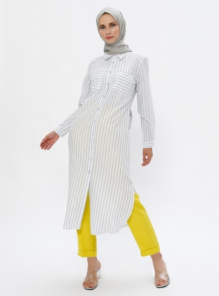 Ecru - Blue - Stripe - Point Collar -  - Tunic