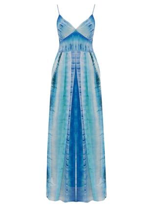 Blue - Multi - V neck Collar - Fully Lined - Dress