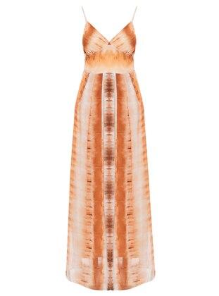 Mink - Multi - V neck Collar - Fully Lined - Dress