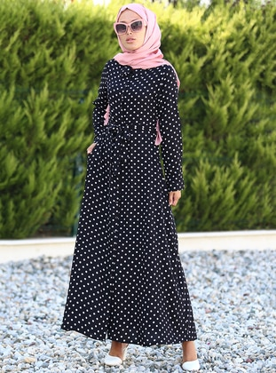 White - Black - Polka Dot - Point Collar - Unlined - Dress