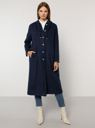 Indigo - Blue - Unlined - Rayon - Plus Size Overcoat