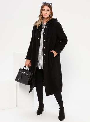 Black - Unlined - Rayon - Plus Size Overcoat - Alia
