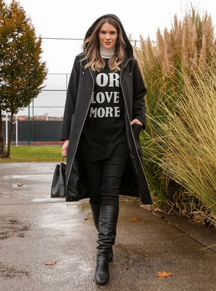 Black - Unlined - Rayon - Plus Size Overcoat