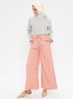 Orange - Plaid - Viscose - Pants