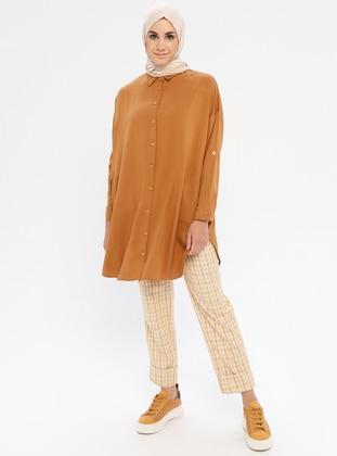 Mustard - Yellow - Plaid - Viscose - Pants