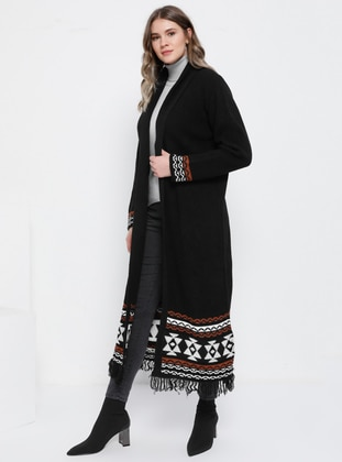 Black - Ethnic - Acrylic -  - Plus Size Cardigan