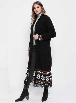 Black - Ethnic - Acrylic -  - Plus Size Cardigan - Alia
