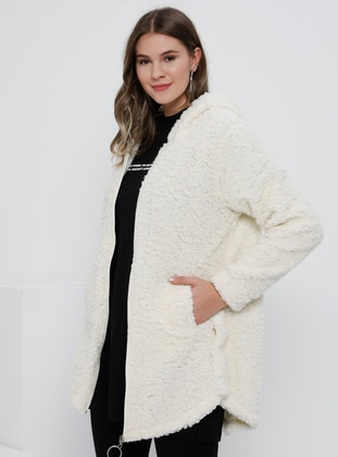 White - Ecru - Unlined - Plus Size Coat - Alia