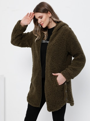 Khaki - Unlined - Plus Size Coat - Alia