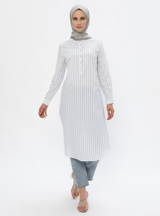 Ecru - Navy Blue - Stripe - Crew neck -  - Tunic