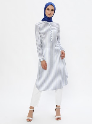 Indigo - Stripe - Crew neck -  - Tunic