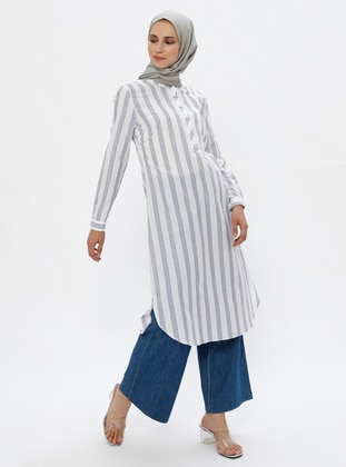 Ecru - Blue - Stripe - Crew neck -  - Tunic