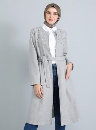 Gray - Fully Lined - Crew neck - Acrylic - Coat