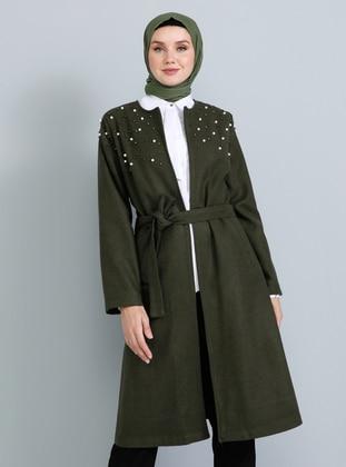 Khaki - Fully Lined - Crew neck - Acrylic - Coat