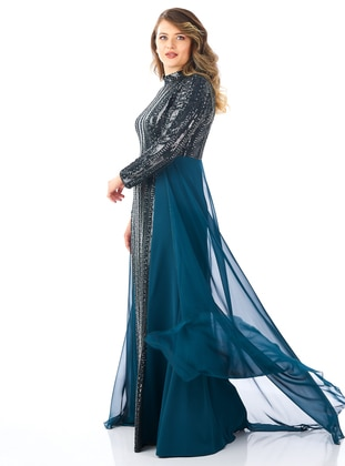 Green - Fully Lined - Crew neck - Muslim Evening Dress