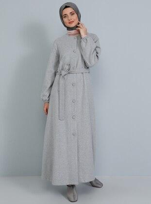 Gray - Fully Lined - V neck Collar - Acrylic - - Coat