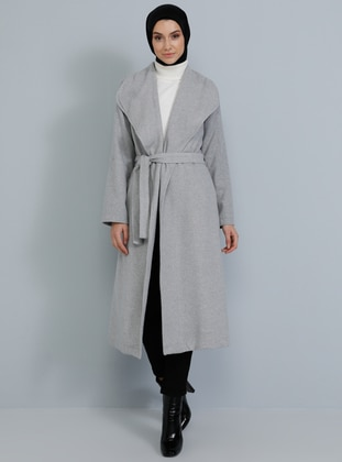 Gray - Unlined - V neck Collar - Acrylic -  - Coat