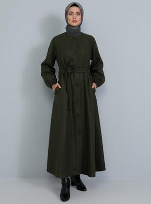 Khaki - Fully Lined - V neck Collar - Acrylic -  - Coat