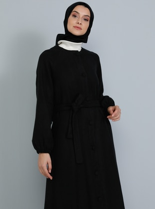 Black - Fully Lined - V neck Collar - Acrylic -  - Coat - Tavin
