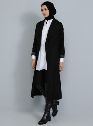 Black - Unlined - V neck Collar - Acrylic -  - Coat - Tavin
