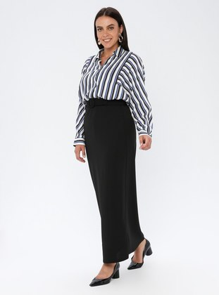 Black - Unlined - Plus Size Skirt - GELİNCE